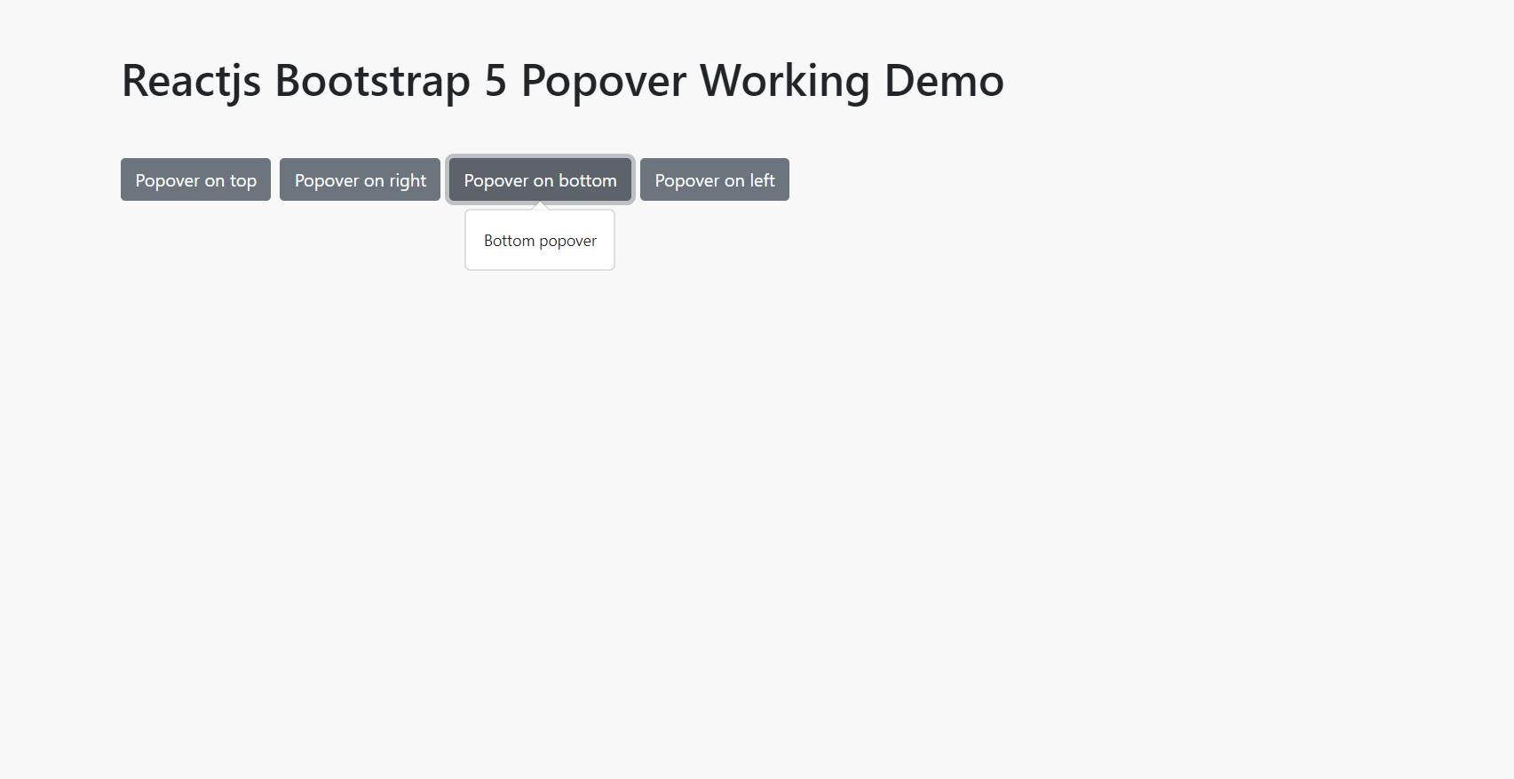 Reactjs Bootstrap 5 Popover Working Demo