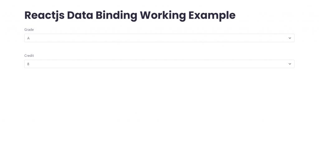 Reactjs Data Binding Working Example
