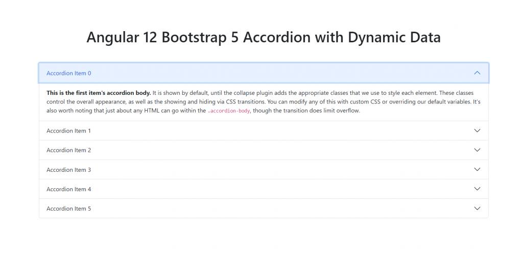 Angular 12 Bootstrap 5 Accordion with Dynamic Data