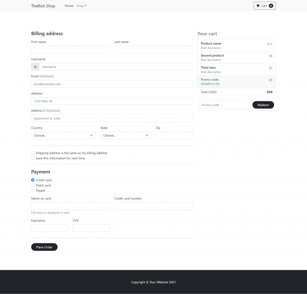 Angular 12 Bootstrap 5 Ecommerce Testing Project - Part 4 Checkout Page