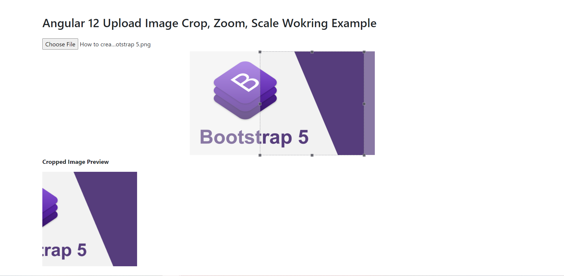 Angular 12 Bootstrap 5 Image Crop, Zoom, Scale Working Functionality