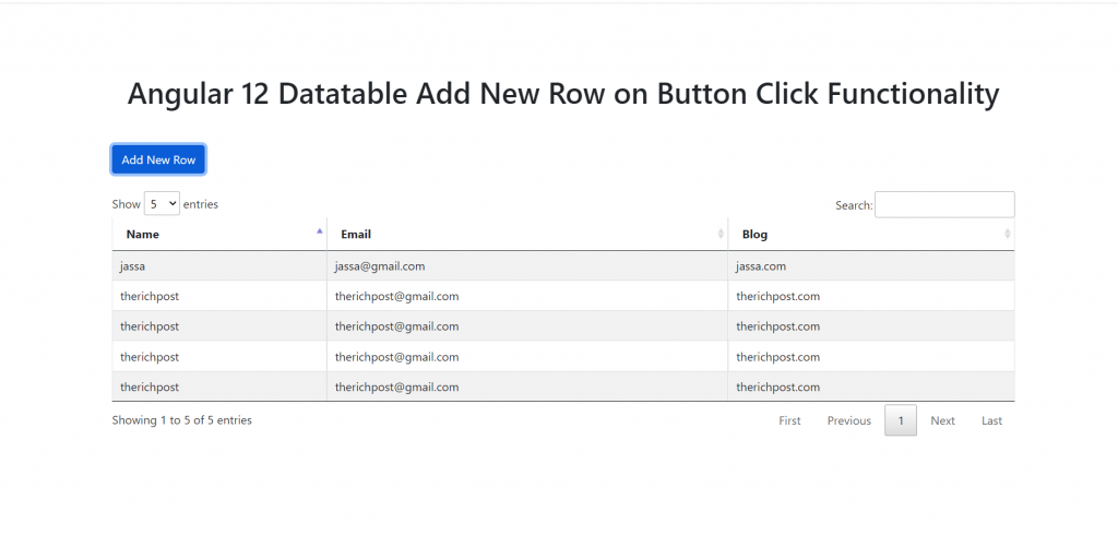 Angular 12 Data Table Add New Row on Button Click Functionality