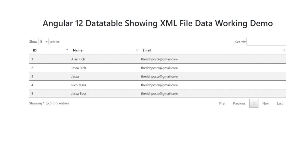 Angular 12 Datatable showing XML File Data Working Demo