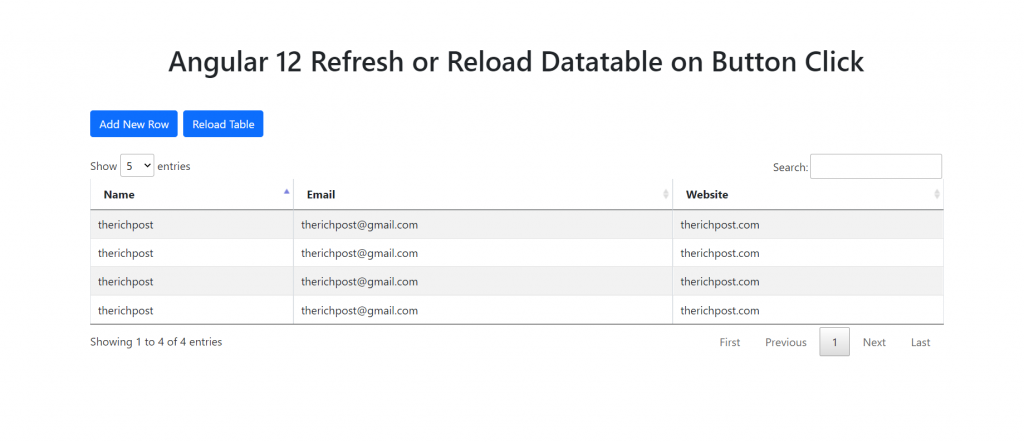 Angular 12 Refresh Reload Datatable on Button Click Functionality