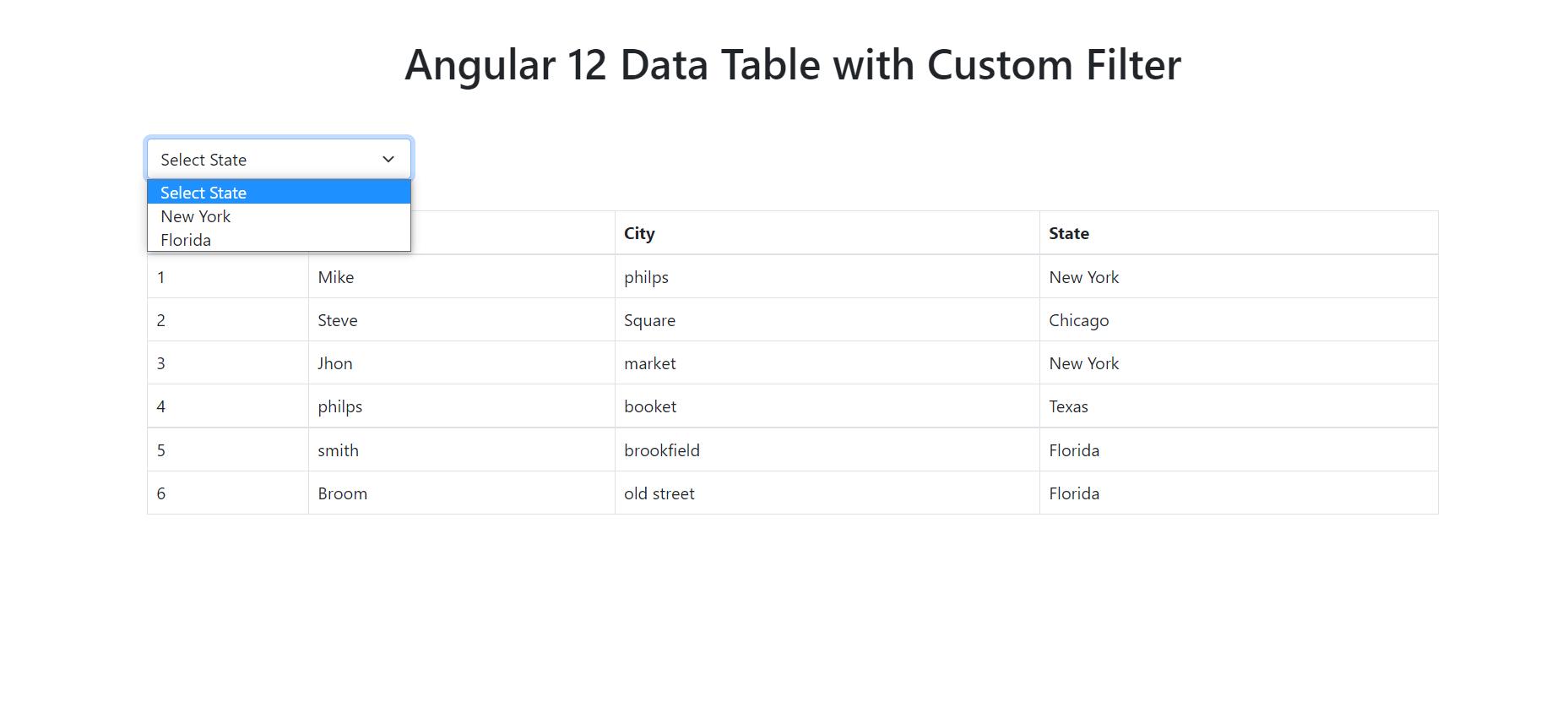Angular 12 Table Data with Custom Filters