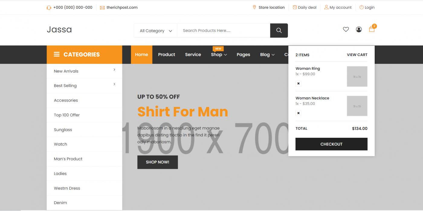 Laravel 8 J-shop Ecommerce Template Free