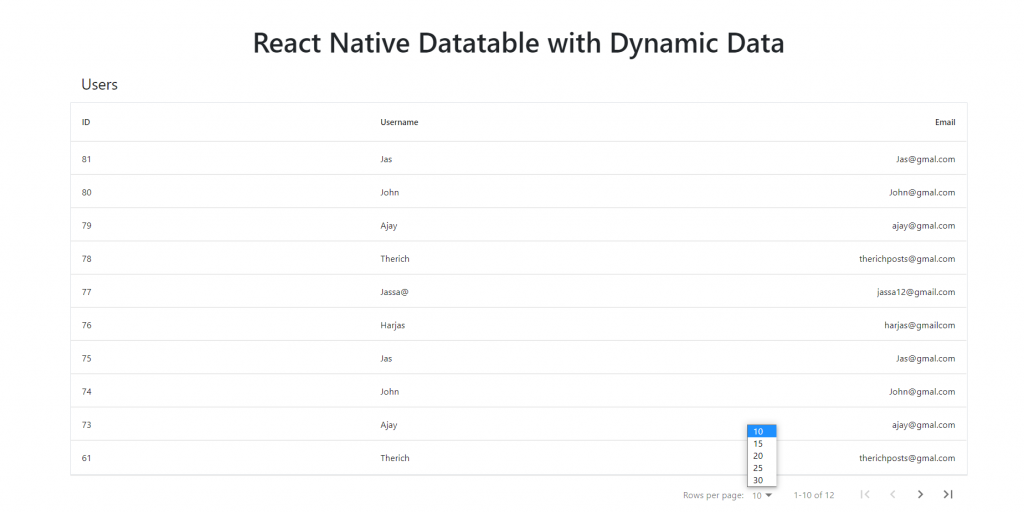 React Native Datatable with Dynamic Data Working Example