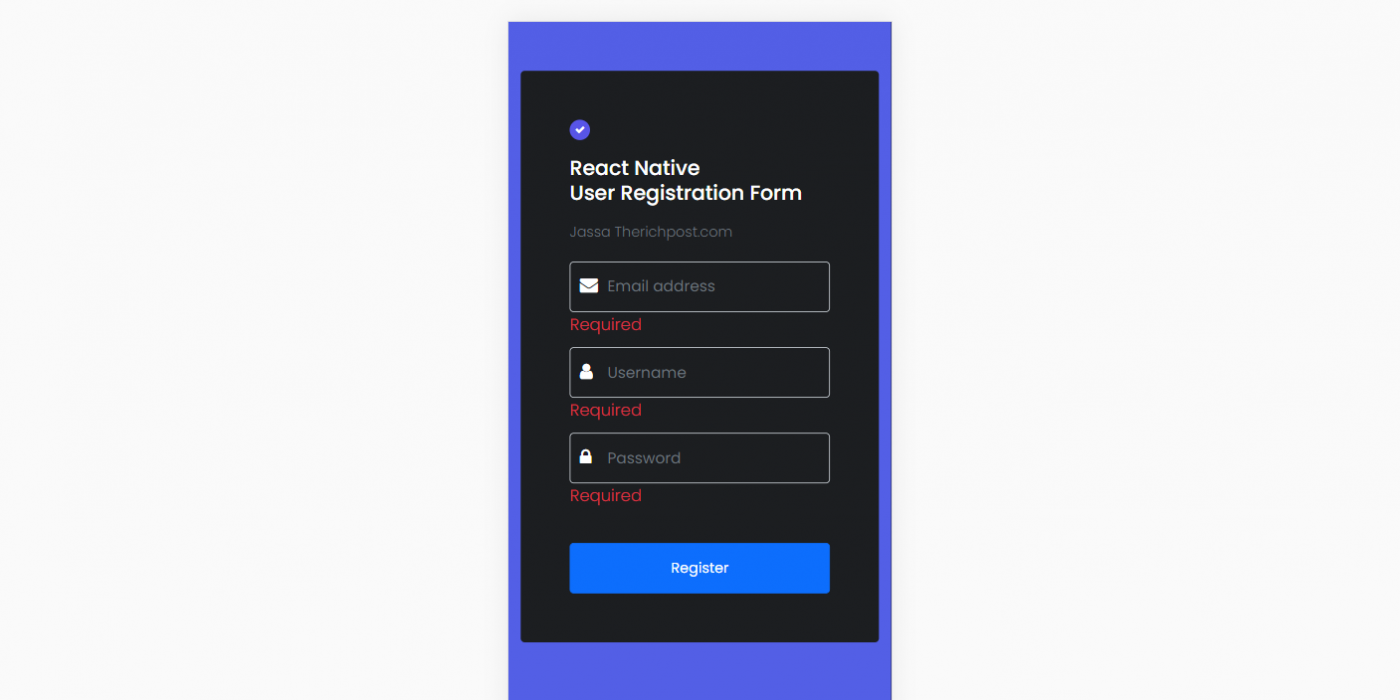 React Native User Registration Form with Validation