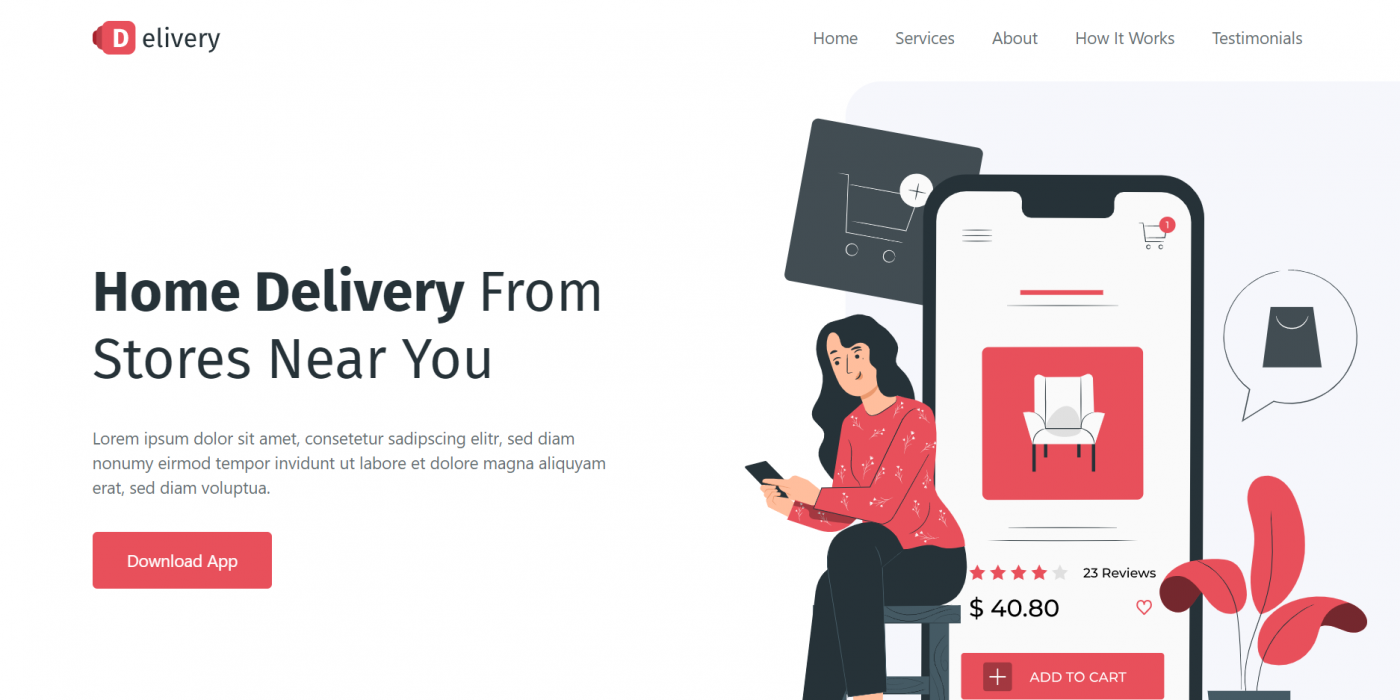 Reactjs Best Food Delivery App Landing Page Template Free 2021