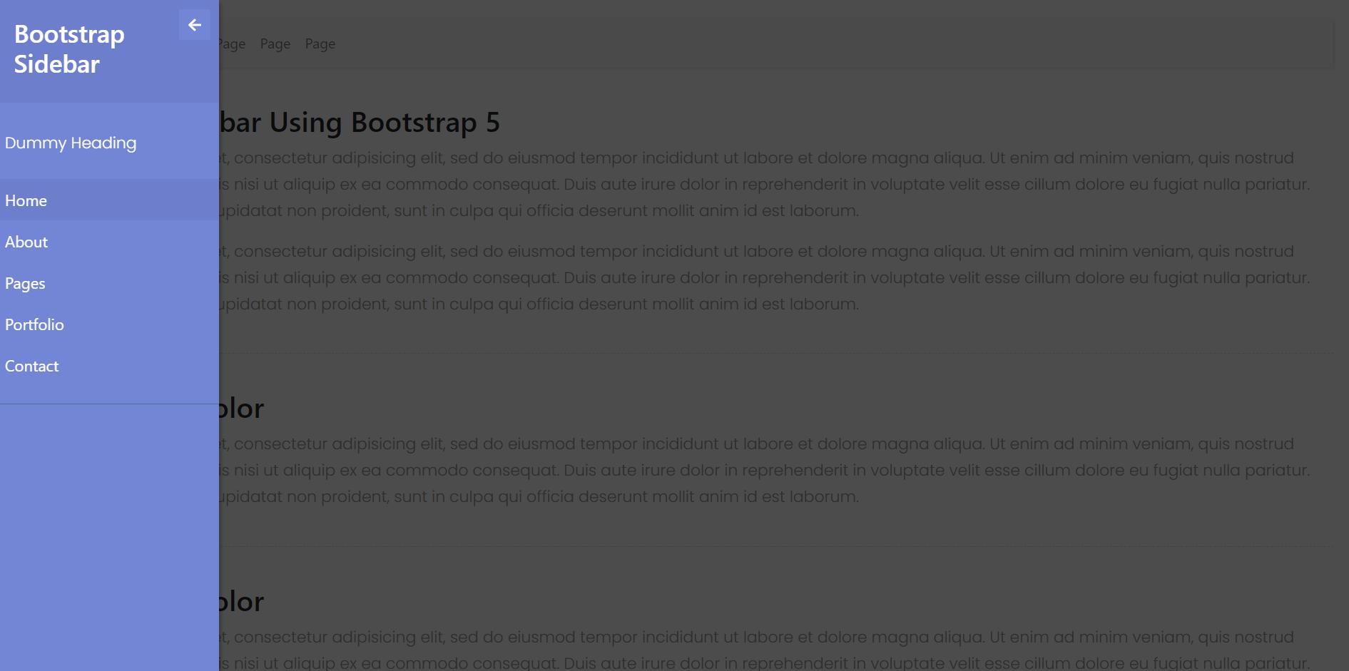 Reactjs Bootstrap 5 Popup Sidebar Template