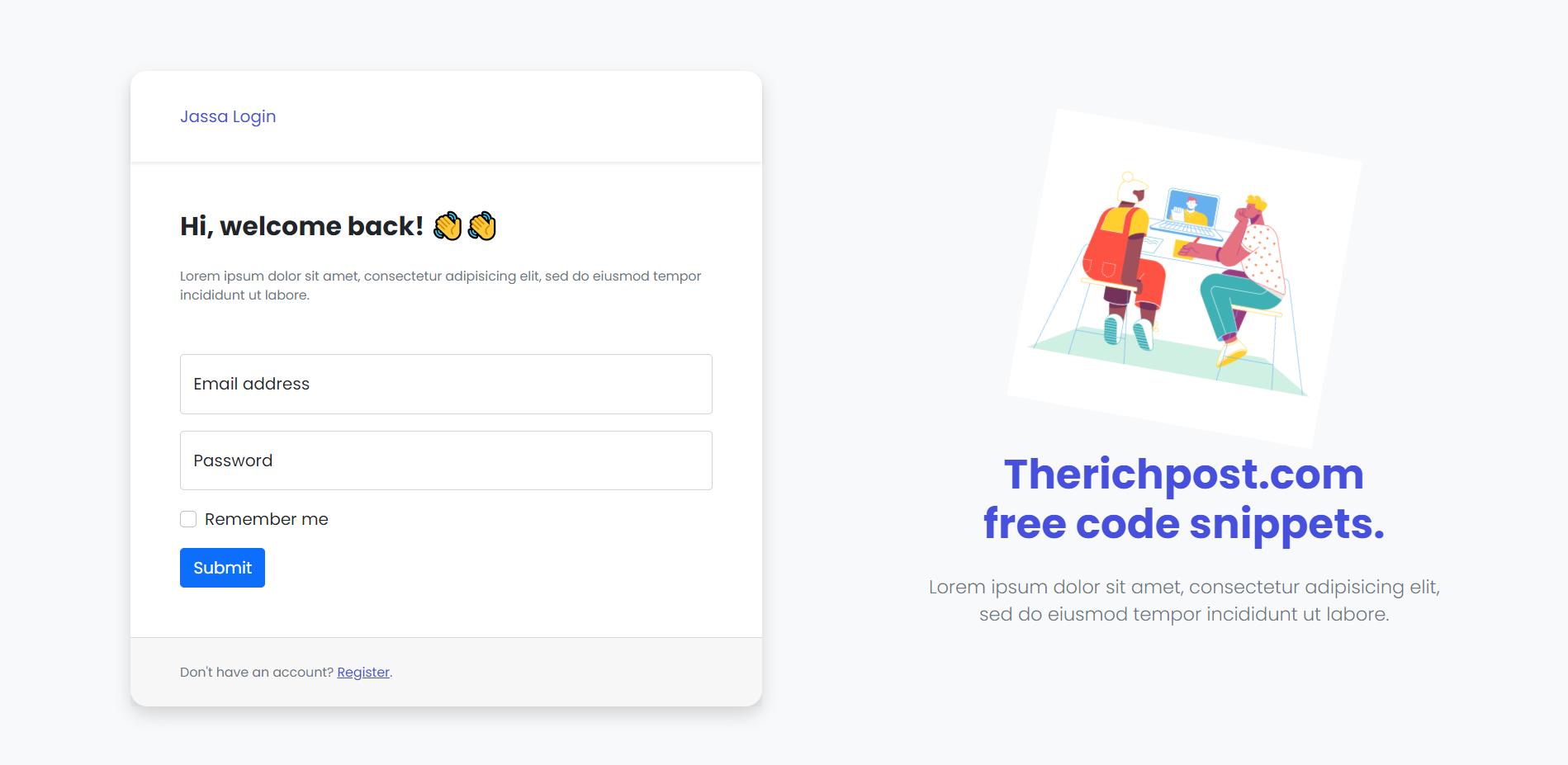 Reactjs Bootstrap 5 User Login Registration Forms Show Hide on Button Click