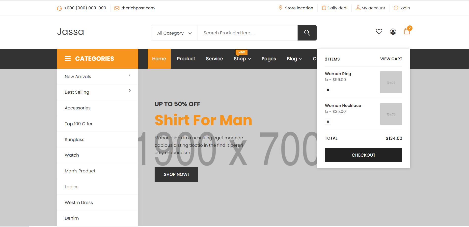 Reactjs J-shop Ecommerce Template Free