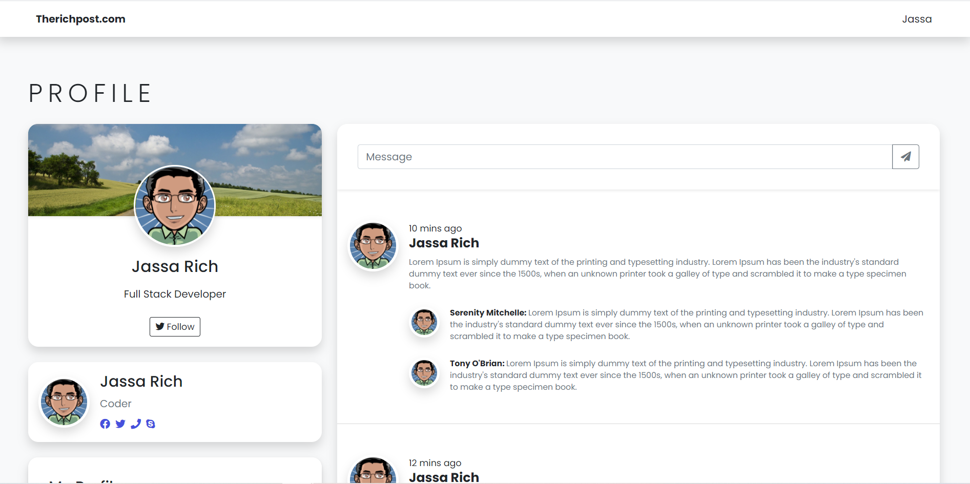 Vue 3 Bootstrap 5 Responsive User Profile Page Working Demo with Code Snippets