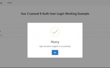 Vue 3 Laravel 8 AUTH User Login Working Example