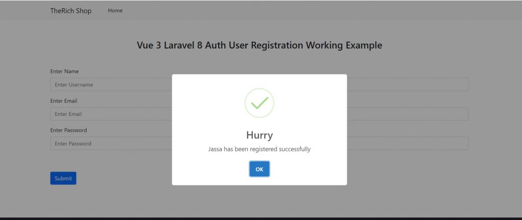 Vue 3 Laravel 8 AUTH User Registration Working Example