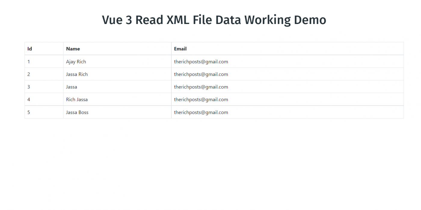Vue 3 Read XML File Data Working Demo