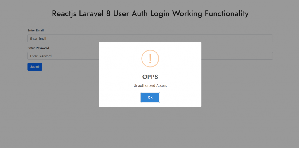 Wrong user details validation popup