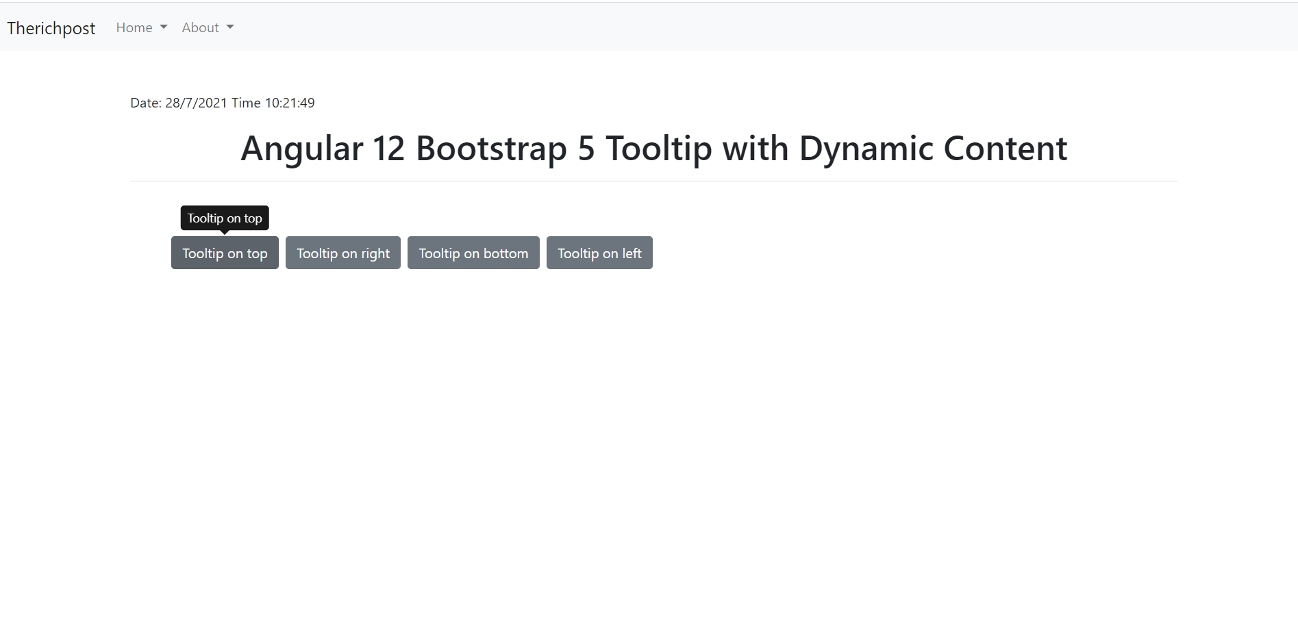 Angular 12 Bootstrap 5 Tooltip with Dynamic Content