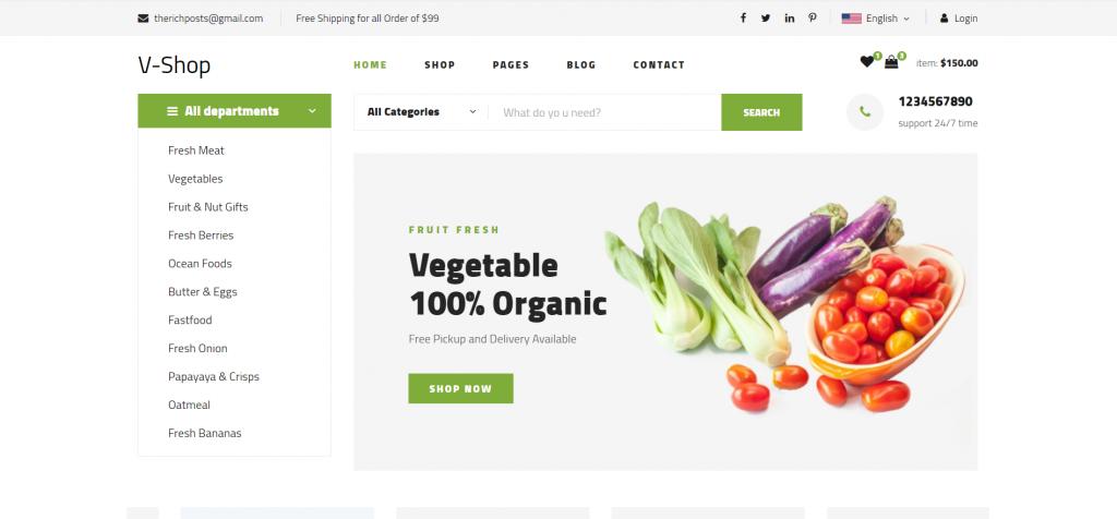 Angular 12 V-Shop Free Ecommerce Template Download