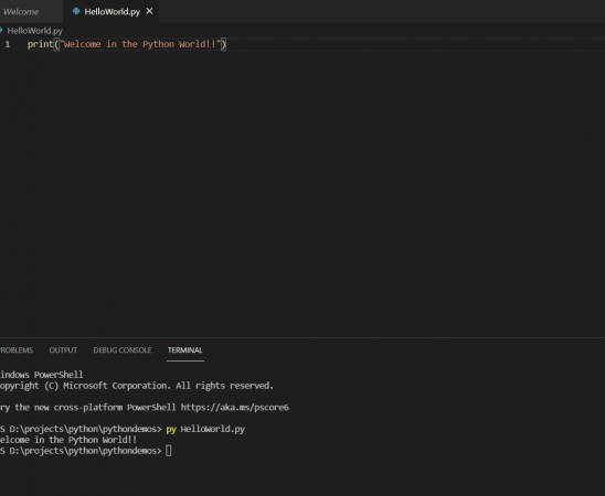 Create and Run your first Python Program