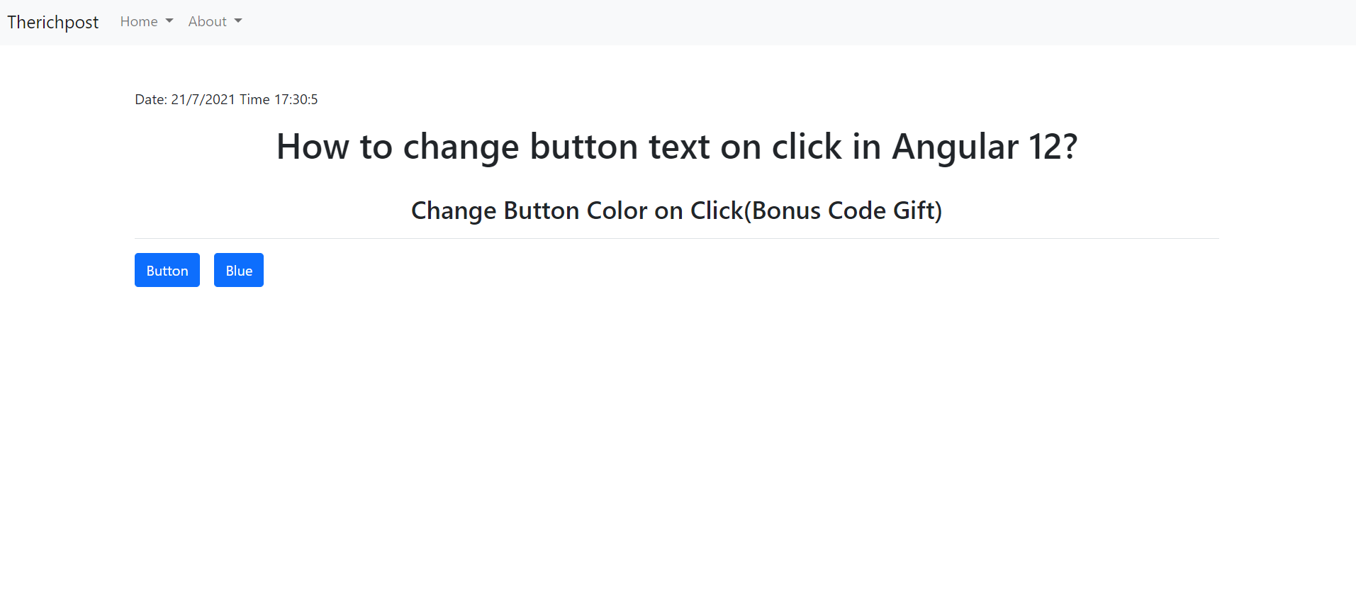 How to change button text on click function in Angular 12?