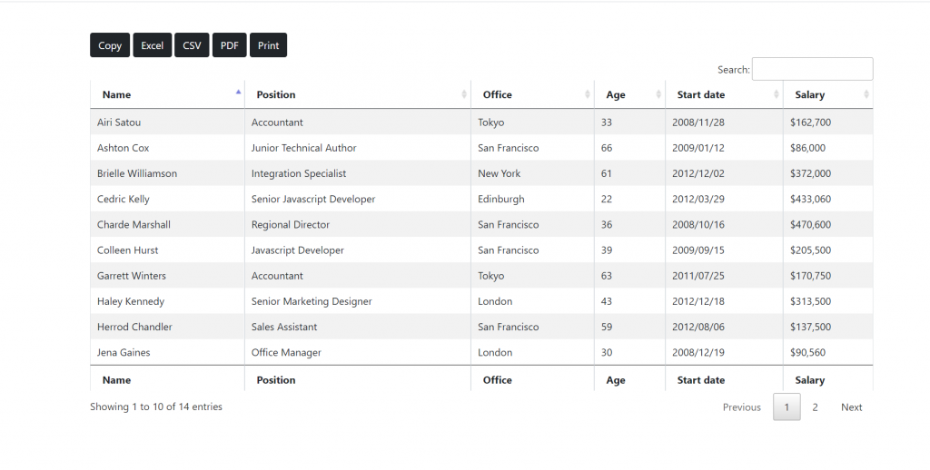 Laravel 8 Datatable with Copy Excel Csv Pdf Print Buttons Functionalities
