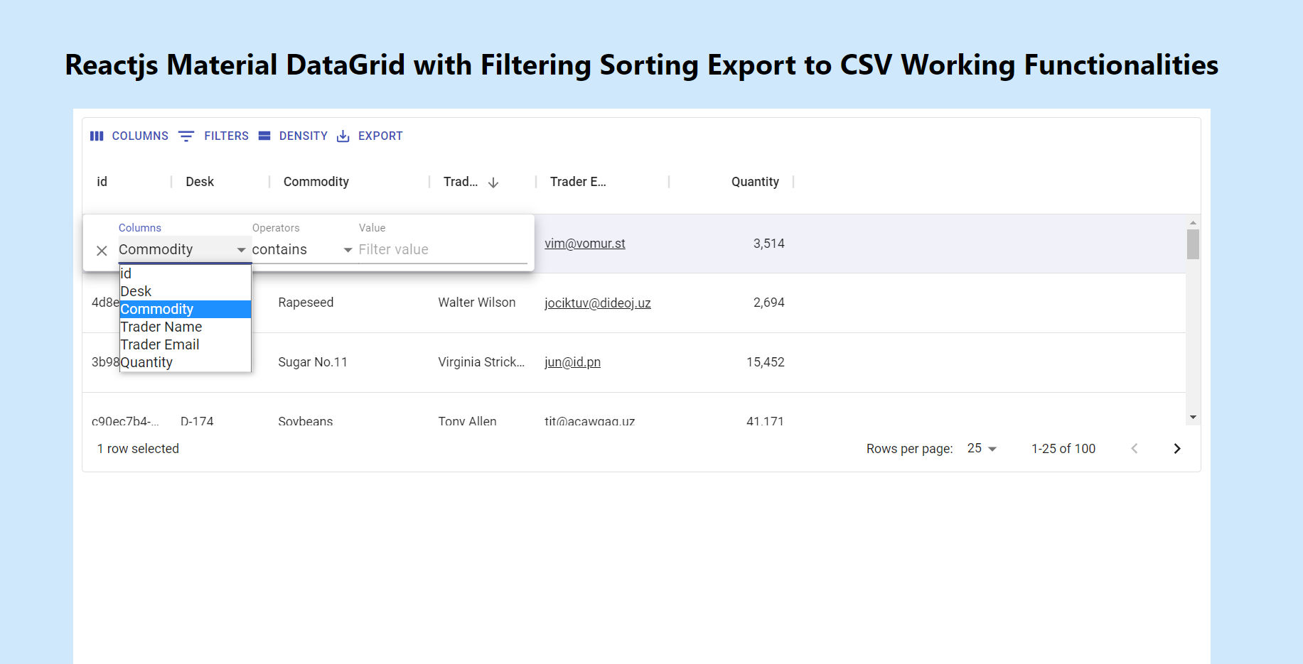 Reactjs Material Data Grid with Filtering Sorting Export to CSV Working Functionalities