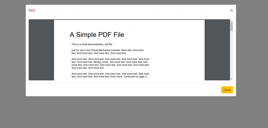 Reactjs Open PDF File inside Bootstrap 5 Modal POPUP