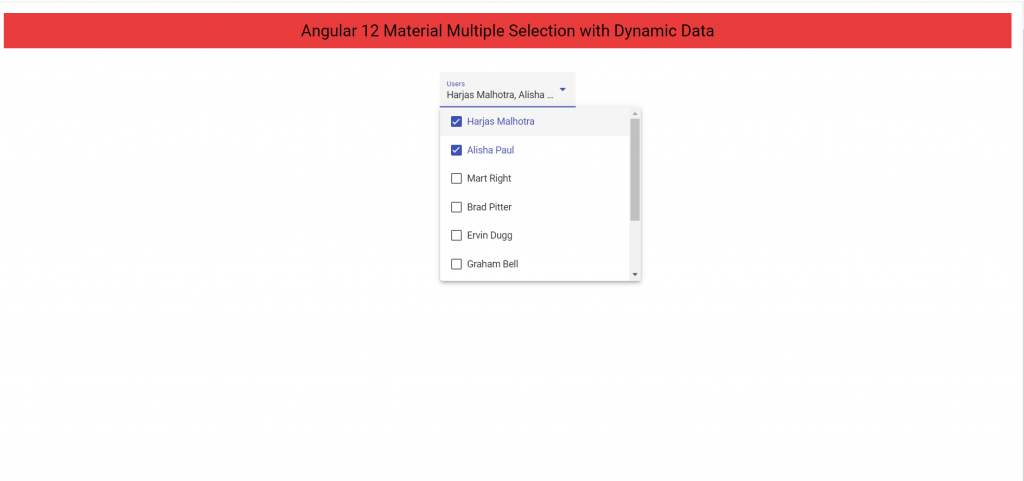 Angular 12 Material Multiple Selection with Dynamic Data