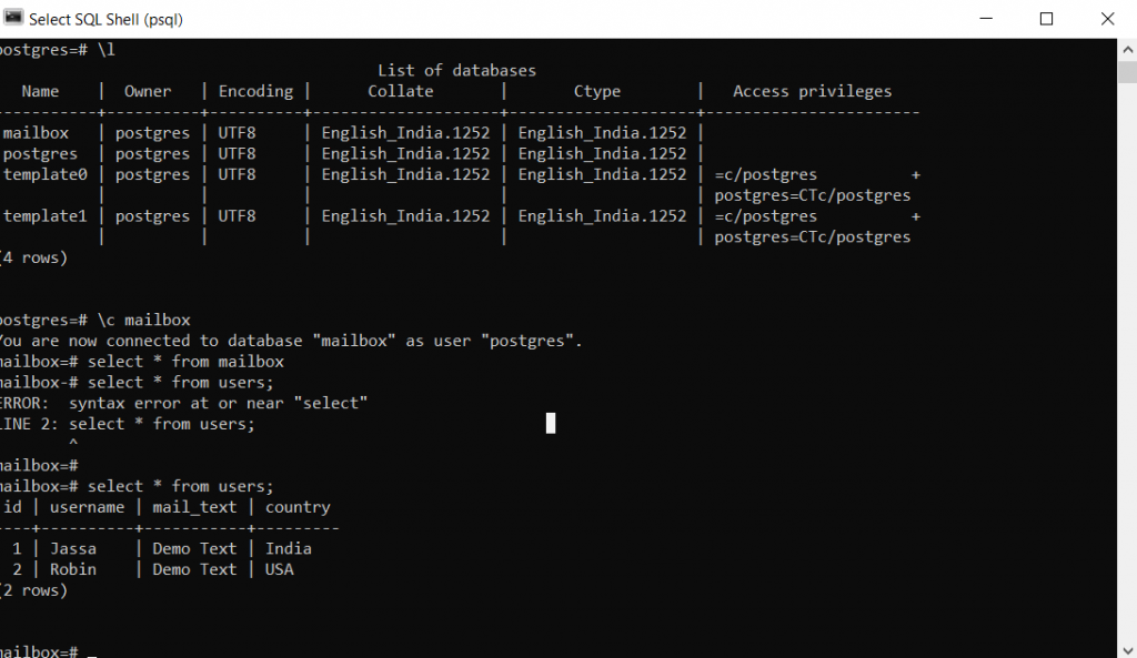 Postgres SQL Shell