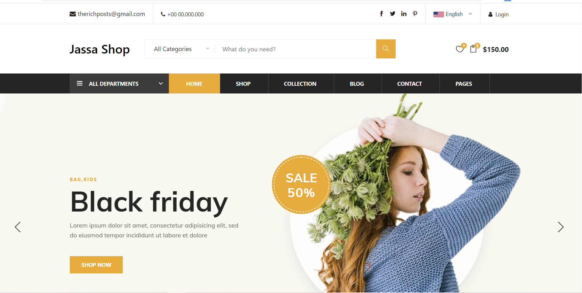 React Free Responsive Ecommerce Template Free Download