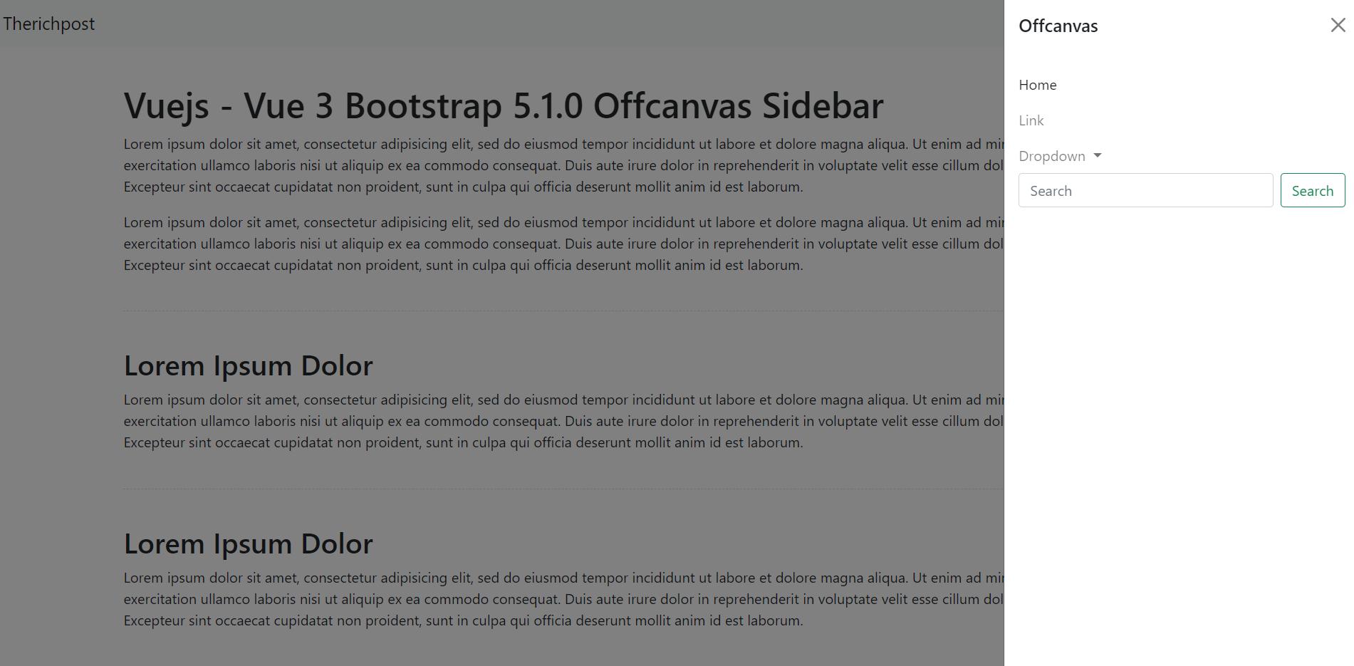 Vuejs - Vue 3 Bootstrap 5.1.0 Offcanvas Sidebar