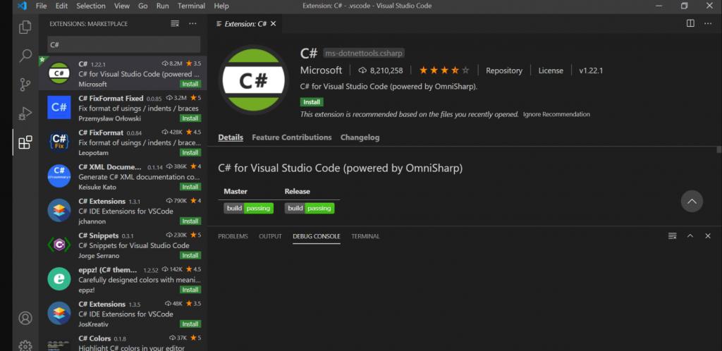 install c# in visual studio code