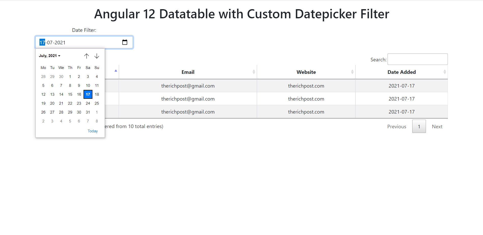 Angular 12 Datatable with custom DatePicker Filter