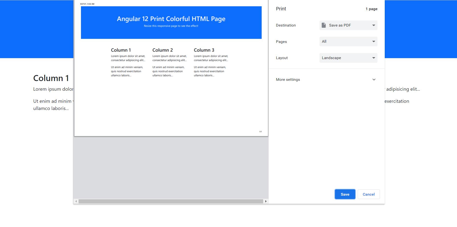 Angular 12 Print Colorful HTML Page Working Example