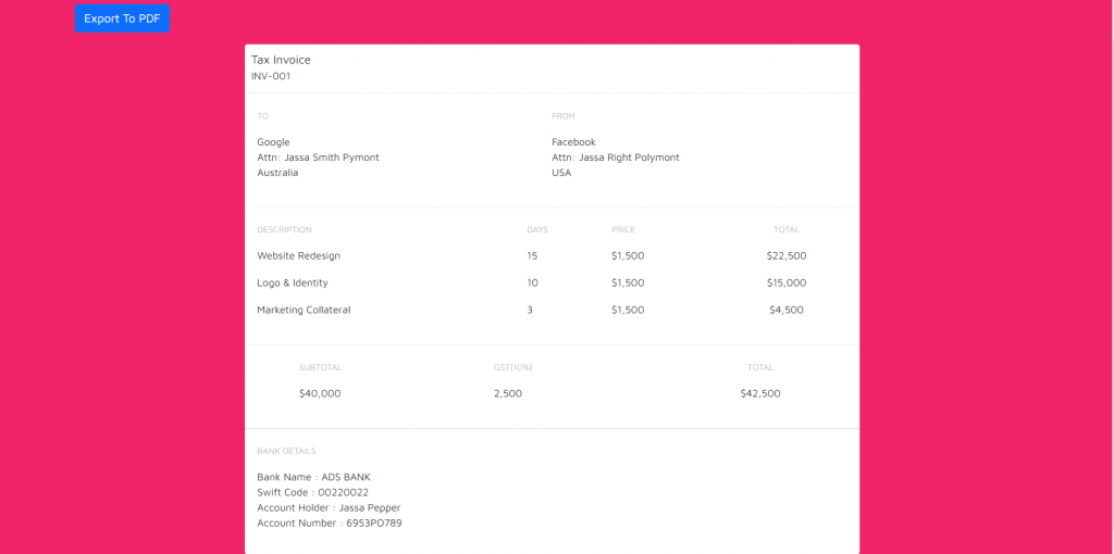 Reactjs Create Invoice Template and Export to PDF Working Functionality