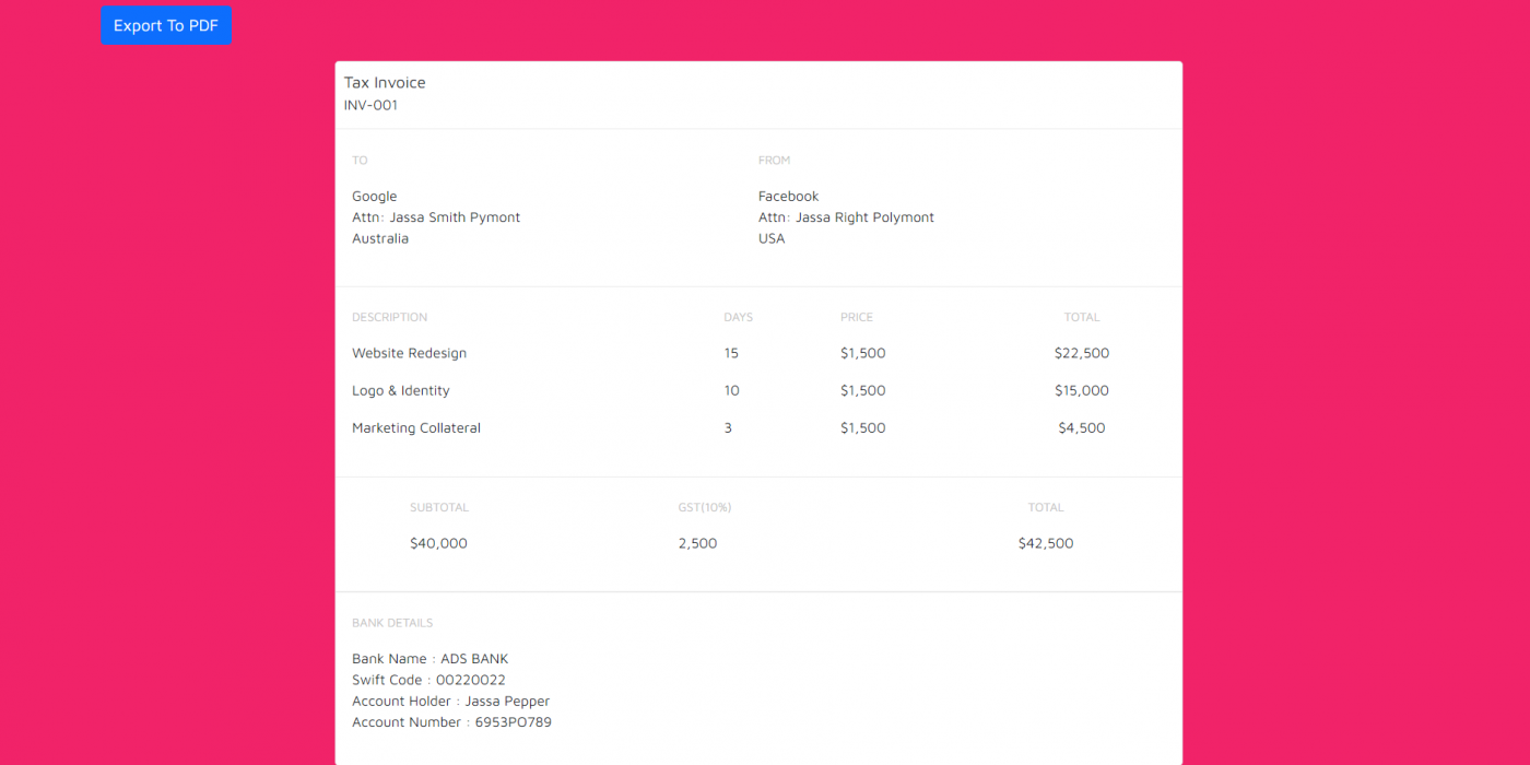 Vue 3 Create Invoice Template and Export to PDF Working Functionality