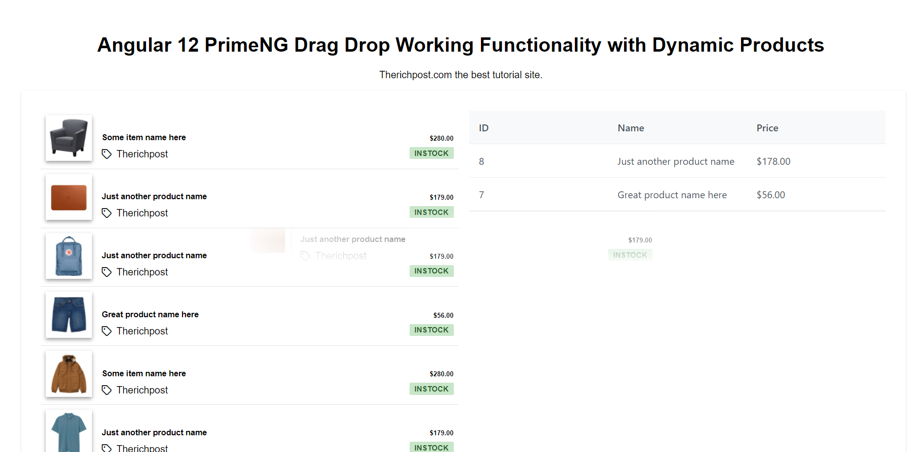 Angular 12 PrimeNG Drag Drop Working Functionality with Dynamic Products