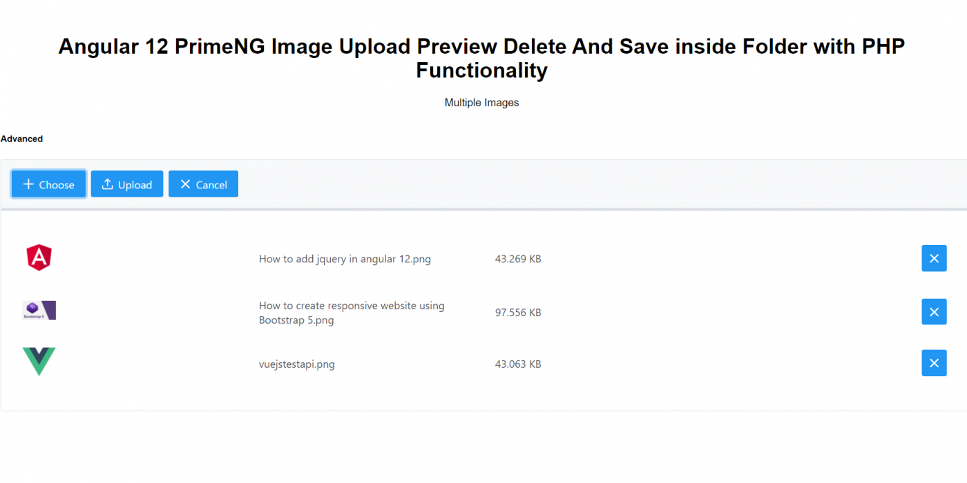 Angular 12 PrimeNG Image Upload Preview Delete And Save inside Folder with PHP Functionality