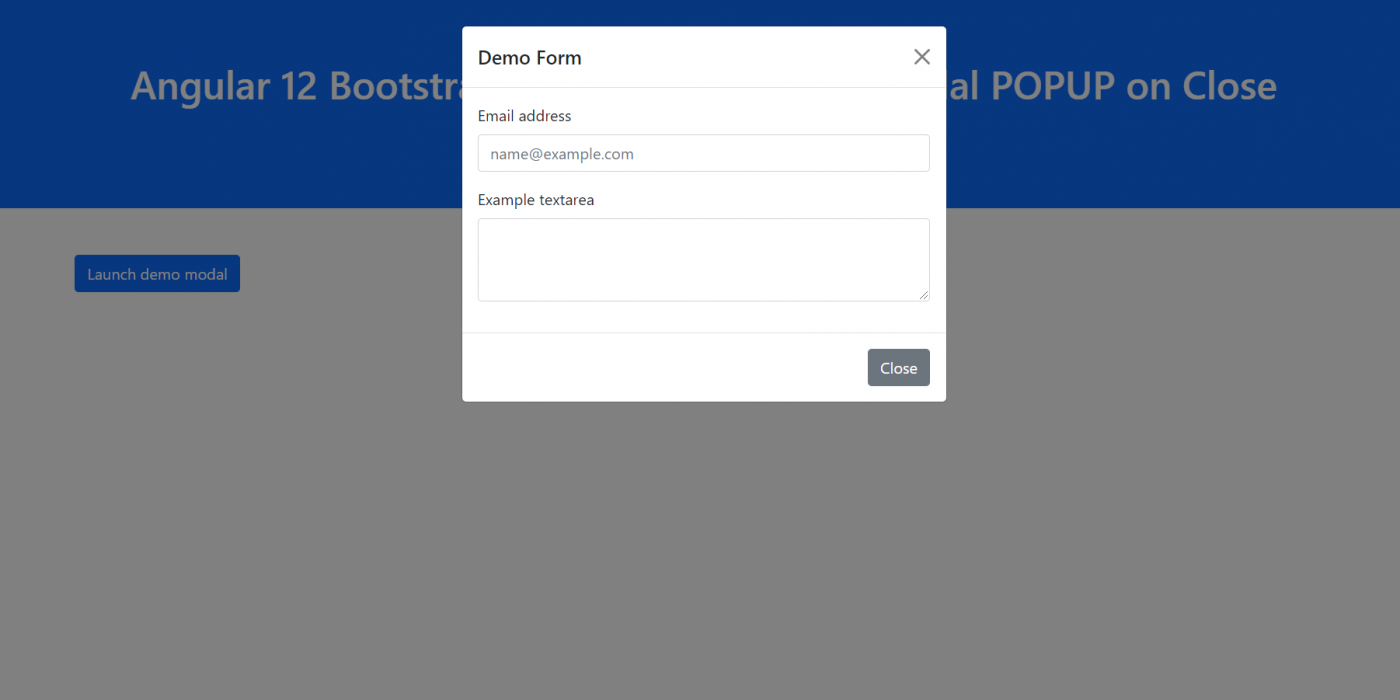 Angular 12 Reset Form inside Bootstrap 5 Modal POPUP when Closed